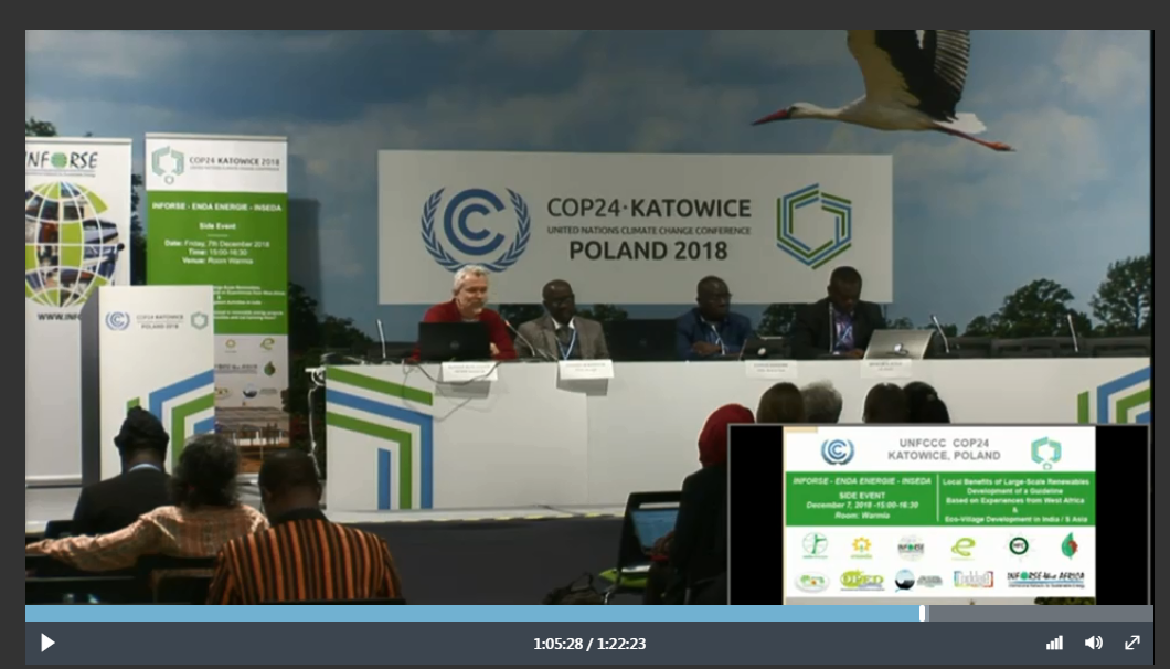 Link to UNFCCC Broadcast Side Event Dec 7 2018 INFORSE ENDA INSEDA