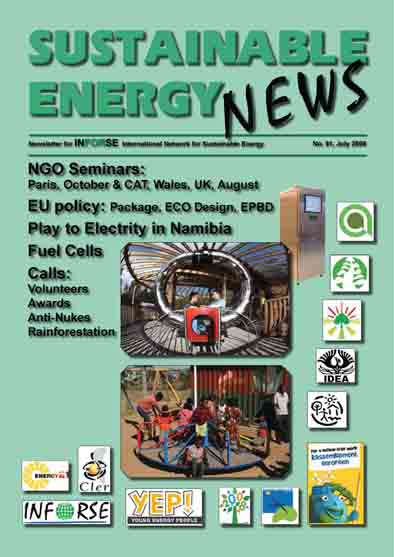 Sustainable Energy News 61 frontpage, INFORSE newsletter