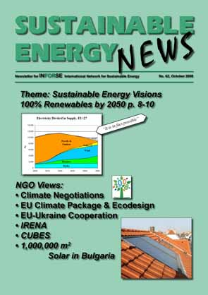 Frontpage of Sustainable Energy News (SEN) 62