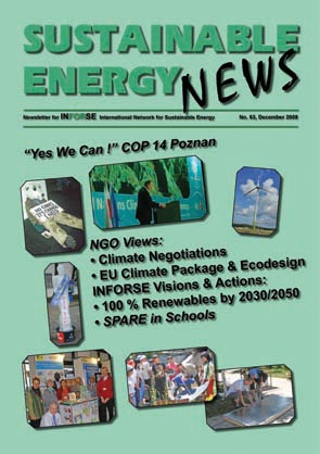 Sustainable Energy News 63 frontpage December 2008
