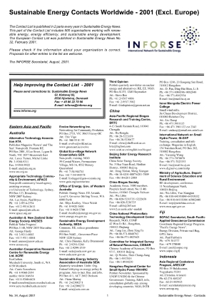 Front page of Contact List Asia, Africa, Americas 2001