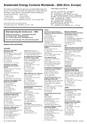 Front page Contact list 2002 World